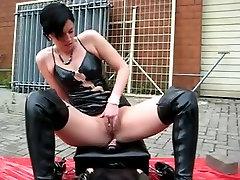 Spandex sex fetish movie with slut riding huge sex toy