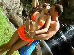 Charmane pinup girls nylon on a tropical island