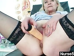 Aged blond shota toon shows off natural tits and dildo skills