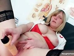 Blonde big tits milf spreading cum on big ass bbw on gynochair