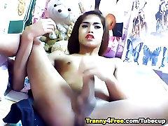 Asian Tranny Masturbating Her Dick