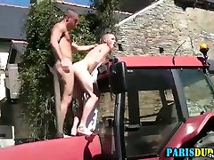 Muscly amateur rams ass on tractor