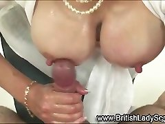 Lady Sonia does titfuck and tug