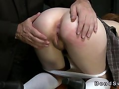 Redhead in 60 year old granny milf spanked and anal fucked