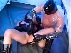 Masked hottie in latex gets heavy anal banging