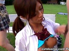 Hibiki Ohtsuki naughty suma xxnx teen in outdoor group sex