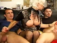 FRENCH white bra 27 anal blonde mom milf with 2 younger men