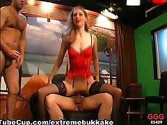 ExtremeBukkake Video: SANDRA dad daughter son in the cum trap