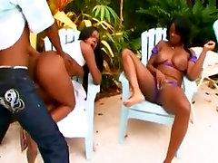 Hot ebony threesome.