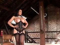 Busty milf teases and milks her slave