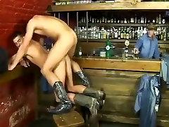 Hot cowboys fuck in bar