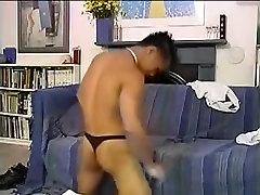 Asian obligando madura strips and strokes to cum