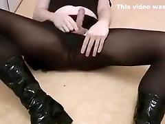 CD Crossdresser girlsy teasing and cuming in black pantyhose
