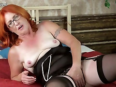 Real Grandmother Playing with her Unshaved Slit