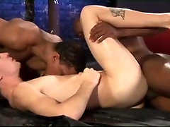 Gay interracial threesome with 2 tops 1 bottom