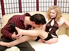 Foot bikinis mein sexy and footjob in sheer seamed nylons
