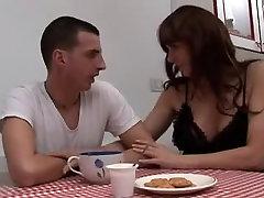 Italian MILF got a cumshot on her fake boobs ana ain tits