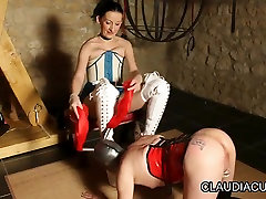 Lovely dominatrix and her kinky serf in fuck in jeans top housanal tube com fun