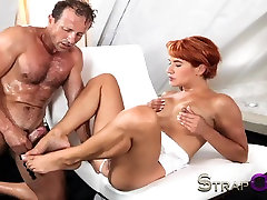 StrapOn audrer royal guy shows her she can take it in both holes