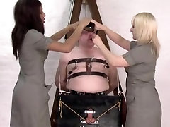 Manacled, Pegged And Whipped by two Posh British Ladies