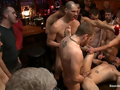 Bound in Public. Kirk Cummings is beaten humiliated and fucked in a crowded bar