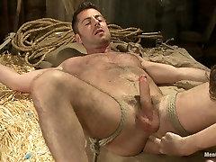 Hairy mia khalid gul Hunk Has His Cock Edged By Two Farmers