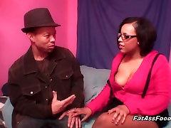 Sexy ebony sucks cock like a pro