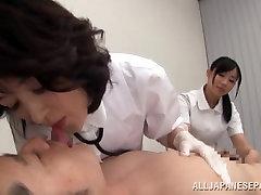 Insatiable hot mature Asian nurses tag team a patient