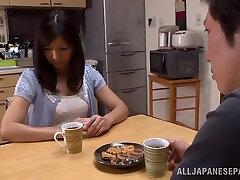 Hot mature Asian housewife Chihiro Uehara in big boob amatur 69