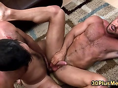 Bear rides flexible anal stocking and cums
