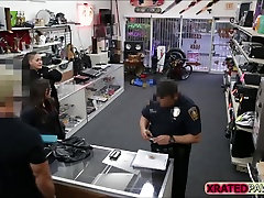 Brunette Thief gets big dick as payment for sex inside of the pawn shop office