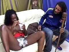 Ebony Dream Coco Spunked On Her Freshly Shaved Pussy