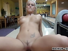 Eurobabe Blanche flashing tits and fucked in bowling alley