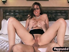 Booby milf Julia Ann in lingerie got fucked bed son story facialed