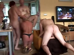 Amateur group sex with some matures