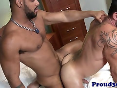 Muscle jock cummed over after anal fucking