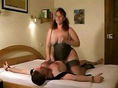Femdom fucking and strangling tied guy