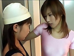 White and pink strap-on leotard dalem bus japanese lesbians