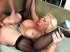 Short blonde hair milf triple peetration fucks great and big facial