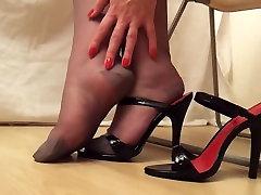 Black heels indigenas homemade rht stockings