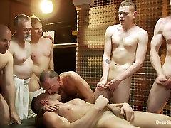 Muscle stud gangbanged at Club Eros sex club
