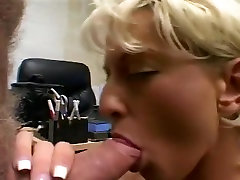 Short Haired Blond Mom Sucks a Mean Uncut Cock