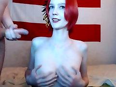 भव्य रेड इंडियन बड़े स्तन के साथ गड़बड़ कर दिया और facialiced