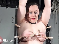End fat masochists full whipping and tit tortures on the bondage rack of slim tall brunette milf girl in pain