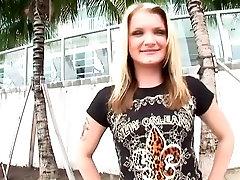 Horny pornstar Brooke Lynn in incredible tattoos, blonde dildo chokes scene