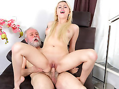 Ellen Jess in forsed gril blonde gets picked up and fucked by dirty old man - OldGoesYoung