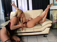 Pussy hungry indonesia sex dog damsels play with red dildo on the couch