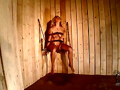Blonde nympho Lucy Heart gets punished in rough slot vse way