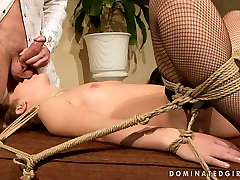 Feisty bitch with small titties is getting face fucked brutally in kinky BDSM indian nighty pussy clip