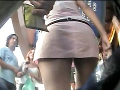 Upskirt honey caught on a spy cam by a voyeur